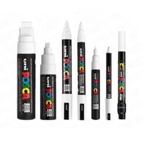7 stylos blancs Posca