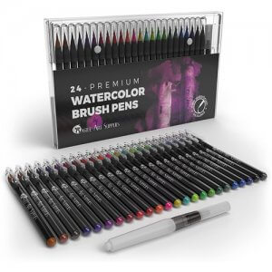 Le coffret de 24 stylos aquarelle de la marque Castle Art Supplies