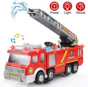 camion de pompier avec lance à eau